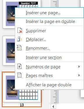 Pour insérer une page, cliquez avec le bouton droit de la souris sur une page dans le volet Navigation entre les pages.