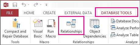 Bouton relations sous l'onglet Outils de base de données