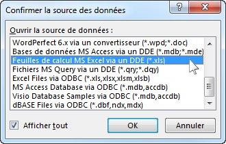 Boîte de dialogue Confirmer la source des données