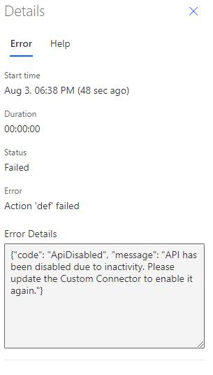 Image illustrant le volet d'erreur détaillé d'un flux en échec lorsque le connecteur personnalisé a été désactivé