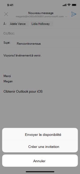 Affiche un écran iOS avec un brouillon d'e-mail grisé et le bouton «Envoyer la disponibilité» sous le brouillon.