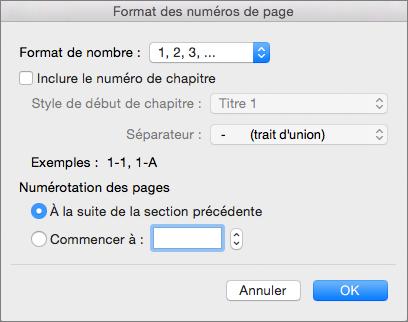Sélectionner le format pour les numéros de page