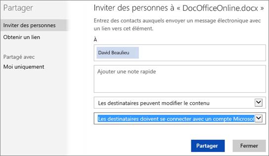 Capture d'écran de la boîte de dialogue Partager avec l'option «Les destinataires doivent se connecter avec un compte Microsoft»