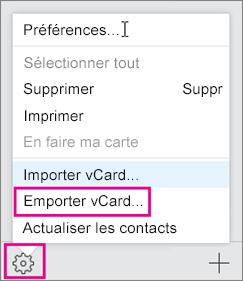 Dans le menu Actions, sélectionnez Exporter.