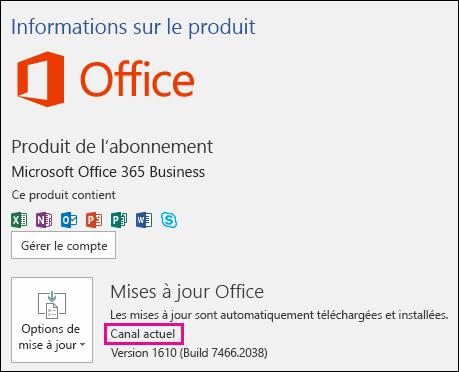 Informations sur le compte associé au produit pour l'abonnement Office365 Business du Canal actuel