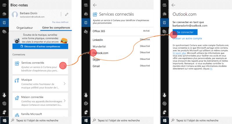 Capture d'écran avec Cortana ouverte sur Windows 10 et le menu Services connectés ouvert.
