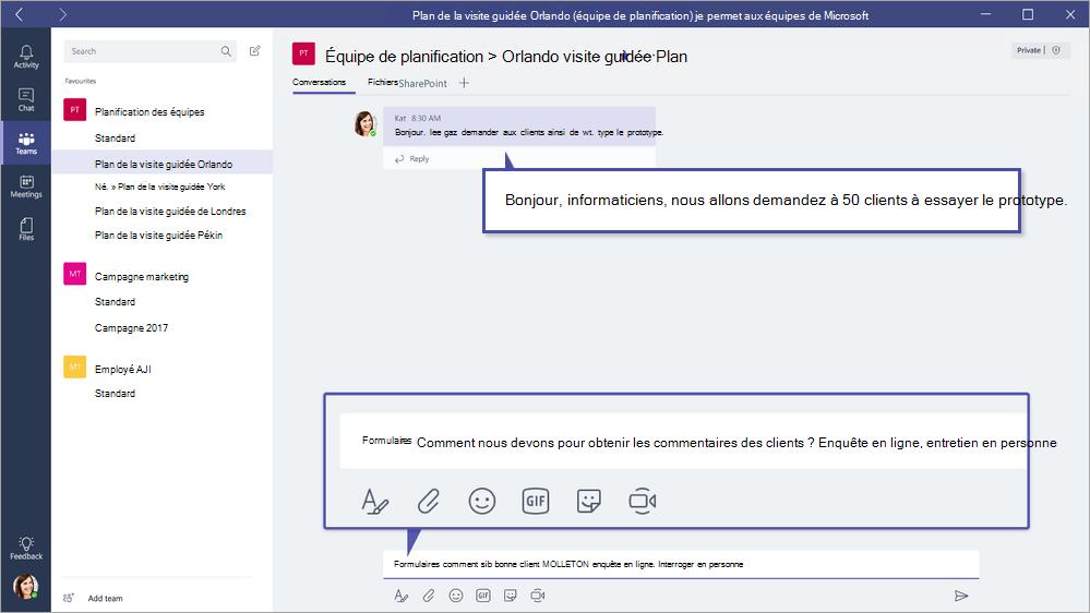 Microsoft Forms QuickPoll dans des équipes de Microsoft