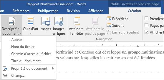 Options Informations sur le document affichées sous l'onglet Outils d'en-tête et de pied de page