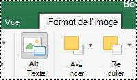 Bouton texte de remplacement pour les images dans le ruban dans Excel pour Mac