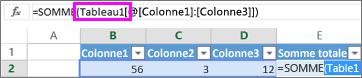 Un nom de tableau apparaît dans des formules