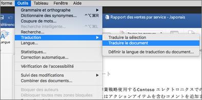 Document dans lequel le menu Outils est développé pour afficher la commande Traduire