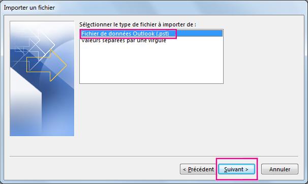 Choisissez d'importer un fichier de données Outlook (.pst).