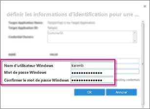 Capture d'écran de la boîte de dialogue Champs d'informations d'identification utilisée pour créer une application cible du magasin sécurisé. Elle présente les valeurs par défaut, Nom d'utilisateur Windows et Mot de passe Windows.