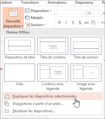 Nouveau menu diapositive sélectionnée d'une diapositive en double