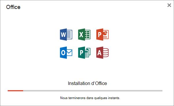 Affiche la boîte de dialogue de progression qui apparaît lors de l'installation d'Office
