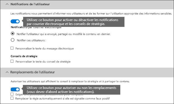 Sections Notifications de l'utilisateur et Remplacements de l'utilisateur de l'éditeur de règles DLP