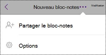 Bouton Paramètres dans Blocs-notes sur iPhone
