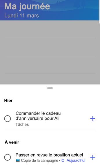 Capture d'écran de to-do sur Android avec des suggestions ouvertes et regroupées par hier et à venir.