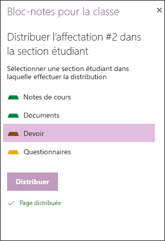 Distribuer la page Options des étudiants