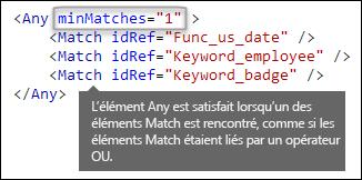 Balisage XML montrant l'élément Any avec l'attribut minMatches