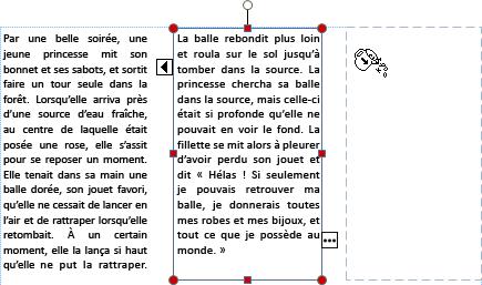 Capture d'écran d'une zone de texte avec un texte de débordement prêt à se déverser dans une autre zone de texte.