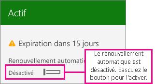 Capture d'écran d'un abonnement qui montre la bascule permettant de le renouveler automatiquement