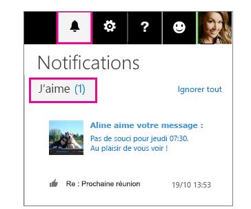 Volet notifications indiquant qui a ajouté une mention «J'aime» à un message