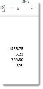 Chiffres alignés sous la tabulation décimale