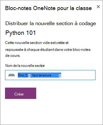 Exemple de nouvelle section créée pour la distribution