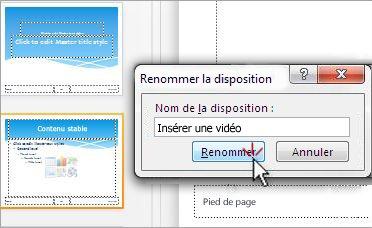 Renommer une mise en page de diapositive