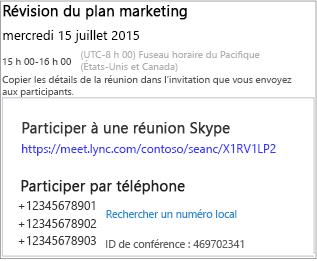 Exemple d'écran affichant les détails de la réunion