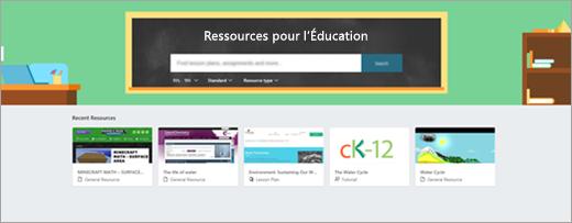Page de recherche de ressources de formation