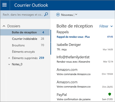 Écran principal d'Outlook.com ou de Hotmail.com