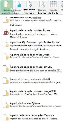 Boîte de dialogue Obtenir des données à partir d'une base de données