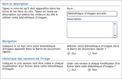 Boîte de dialogue pour ajouter nom, diagramme, navigation rapide et contrôle de version.