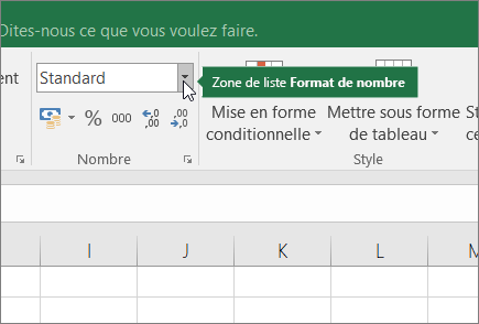 Zone de liste Format de nombre