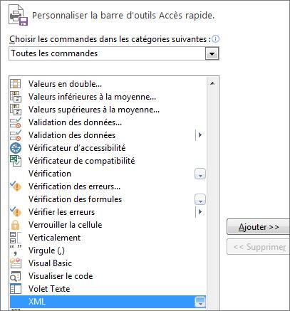 Choisissez XML dans la liste des commandes, puis cliquez sur Ajouter.