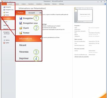 Onglet Fichier dans le ruban PowerPoint2010.