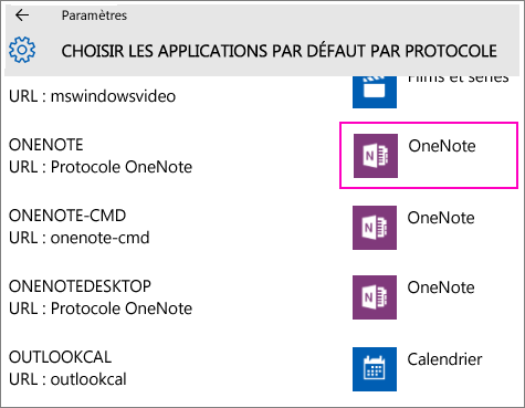 Capture d'écran des protocoles OneNote dans les paramètres Windows10