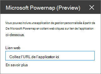 Volet de propriétés Power applications