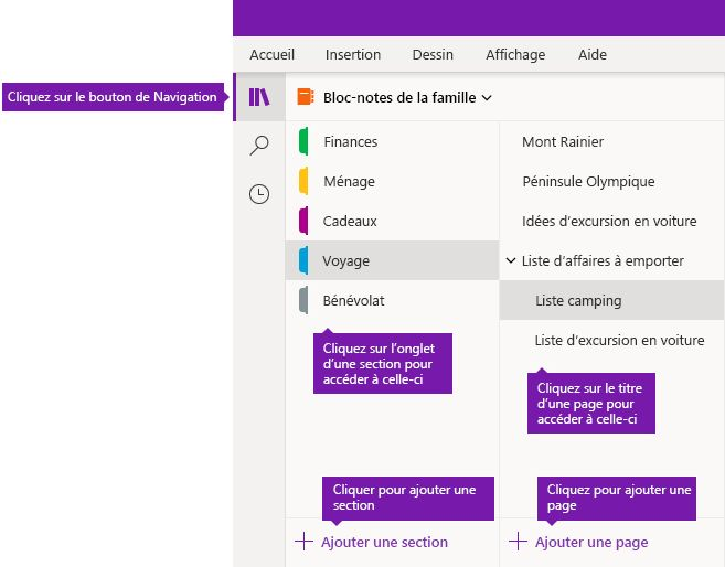 Sections et pages OneNote pour Windows 10