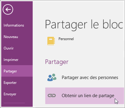 Capture d'écran de l'interface utilisateur Obtenir un lien de partage dans OneNote2016.