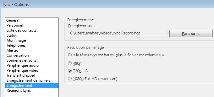 Capture d'écran de la résolution et de l'emplacement des enregistrements