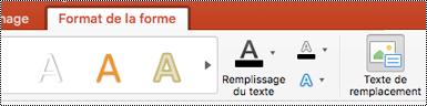 Bouton texte de remplacement pour les formes sur le ruban dans PowerPoint pour Mac