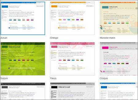 Page de sélection de modèle Office365, présentant des modèles facultatifs pour la mise en page et le thème d'un site web public