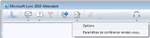 Icône Options de Lync Attendant