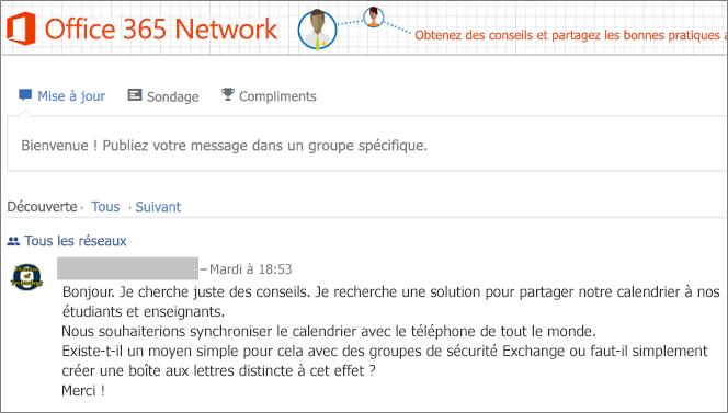Page d'accueil réseau d'Office365