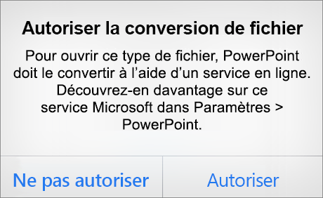 Invite relative à la confidentialité ODF dans PowerPoint pour iPhone