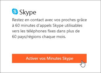 Capture d'écran montrant l'emplacement d'activation des minutes Skype