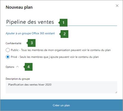 Capture d'écran de la boîte de dialogue Planner New plan montrant des légendes pour 1 nom entré «pipeline des ventes», 2 option d'ajout à un groupe Office 365 existant», 3 options de confidentialité et une liste déroulante 4 options.